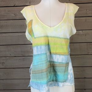 NWOT Custo Barcelona Yellow Patchwork Blouse